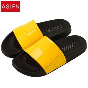 Asifn Kadın Erkek Terlik Mozaik Kafes Moda Tipi Çift Plaj Ayakkabıları Ev Yaz Zapatos Mujer Çevirme T8190617