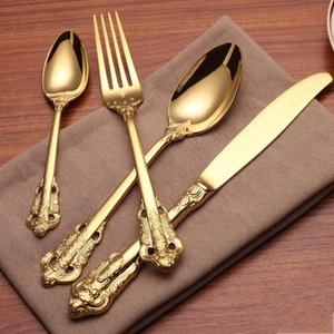 Retro style gold cutlery flatware set Stainless steel 5-piece set dinnerware knife fork spoon dessert fork tea spoon tableware