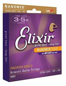 16002 Elixir Acoustic Nanoweb Phosphor Bronze Extra Light Guitar Strings 010-047