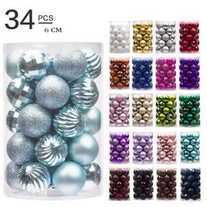 34pcs / lot 60mm d'arbre de Noël partie de boule de décoration d'ornement suspendu Babiole Drop Pendant décorations de Noël pour la maison cadeau