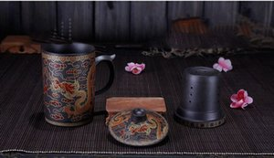 2pcs lot Round purple queen of Pu'er Filter tea cup ceramic cups office cups gift travel kung fu for teas 300ML