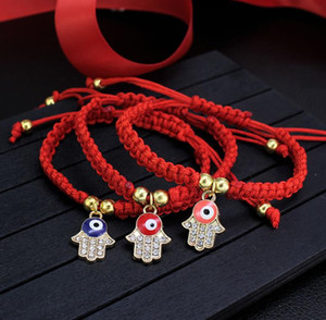 Lucky Red-Schnur-Gewinde-Armband Evil Eye Charm Stretch-Armband-Art und Weise Geschenk Schmuck handgemachte Charme-Schmucksachen 3 Farben