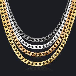 Lien chaîne collier argent / chaîne d'or couleur noire chaîne gourmette magnifiquement bijoux corrente de prata masculina gros collier de Miami