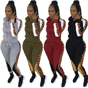 Womens Two Piece Set Designer Leopard Panelled Tracksuits Casual Zip Neck Long Sleeve Top Ankle Length Pants