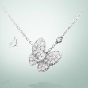 S925 стерлингового серебра полный бриллиант бабочка ожерелье красивая бабочка бриллиантовое ожерелье превосходный бутик атмосфера элегантный бесплатная доставка