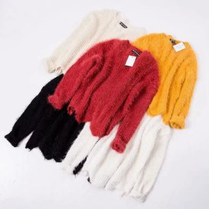 Invierno nuevas mujeres suéter de manga larga sólido ocasional simple niña de color suéter suéter de mohair