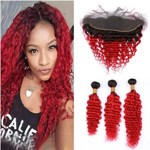Deep Wave Bouclés Rouge Ombre Bouclés Bundles de Cheveux Humains avec Fermeture Frontale Deux Tons 1B / Rouge Ombre Vierge Brésilienne Cheveux Brésiliens 13x4 Fermeture Frontale