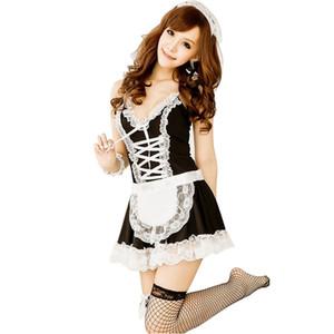 Сексуальное нижнее белье женское белье косплей французский фартук горничной равномерное горячая слуга Лолита Babydoll сексуальное женское белье платье эротические сексуальные костюмы