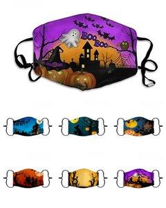 Halloween Pumpkin Imprimé Masque de protection crâne oreille boucle masques lavables réutilisables respirante Party Bouche couverture masque pour adultes Enfants