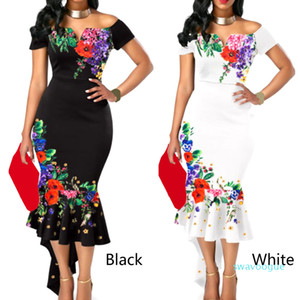 Women Dress Bodycon Summer Cocktail Fashion Party Shoulder Slim Elegant Ladies Sexy Floral Fishtail Short Sleeve JH02