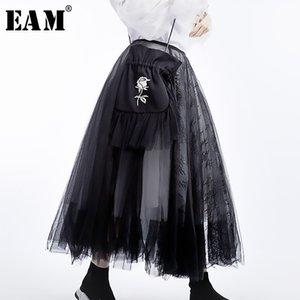 [EAM] 2020 New Spring Summer High Waist Black 5 Layers Mesh Stitc Temperament Half-body Skirt Women Fashion Tide JT136