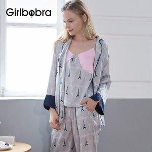 Dormir Set Moda Patrón Turn Down cuello de la mujer de manga larga pijama Cosy Home