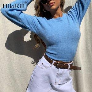 HiloRill Mode Femmes Bleu Pull 2020 Retour évider Tie Up Crop Top Femme solide O manches longues Casual Jumper