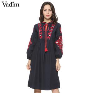 Kadınlar Vintage Çiçekli Nakış Elbise İpli Kravat Püsküller Uzun Kollu Faldas Festa Casual Marka Gevşek Retro Elbiseler Qz2611 Y190514