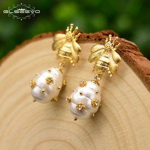 Glseevo التصميم الأصلي الطبيعية أقراط اللؤلؤ شل للنساء هدية النحل أقراط الأشجار فاخر الجميلة مجوهرات Ge0665 Y19070902