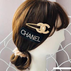 Yüksek Kalite Kristal Mektupları lüks klasik Kız Saç Kelepçe Kadınlar Saç Aksesuarları Takı için Kadın Saç kırpar Barrette tasarımcıları