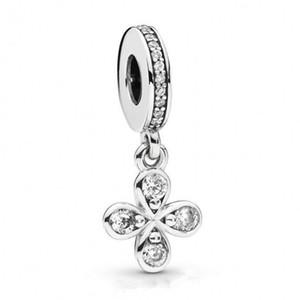 Kristal kolye Boncuk Fit Avrupa Kadınlar Bilezik Bileklik Diy Takı İle Yeni Otantik 925 Gümüş Charm Dört yapraklı yonca
