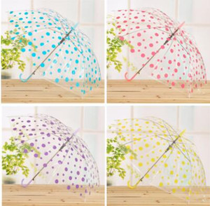 DHL Polka Dots Clear Umbrella Raindrop Transparent Dance Performance PVC Long Handle Colorful Beach Rain Sun Umbrella Wedding Party nx