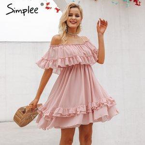 Omuz kadınlar kapalı Simplee Şık fırfır Spaghetti askısı şifon yaz elbiseler Casual tatil kadın pembe kısa sundress elbise