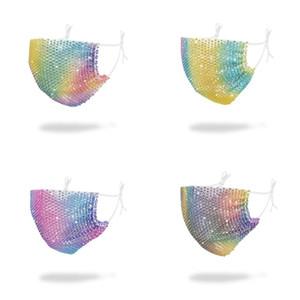 Máscaras de cristal Inlaied Mascherine Rhinestone gradientes Moda Polvo de cara lavable reutilizable plegable respirador ropa de Niños Adultos C2 4 5SY