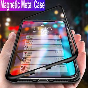 ل فون xs ماكس xr 6/7/8 x حالة ترف المغناطيسي الامتزاز حالة المعادن الحالات الهاتف الخليوي