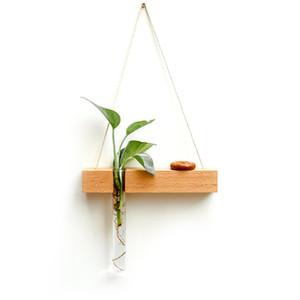 Bois Verre Tube à essai mur Vase hydroponique Plante Pot de fleurs à la main Jardinière Home Décor Pendentif créatif Ornement