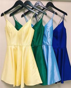 2020 Spaghetti Open Back Short Homecoming Kleider Sexy Mini Cocktail Party Kleid Günstige Prom Abend Club Wear BM1547