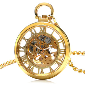 10pcs lot Fast Shipping Hollowed Roman Dial Gold Mechanical Pocket Watch Top Quality Men Women Watches Wholesale