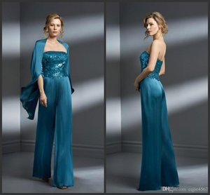 New Two Pieces Mother Of The Bride Pant Suits Chiffon Applique Strapless Plus Size Mother Of The Bride Dress Formal Gown For Mothers Wedding