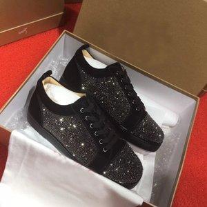 Lüks Erkek Tasarımcı Düşük Üst Kırmızı Alt Günlük Ayakkabılar Yuvarlak Ayak parmakları Strass Düz Ünlü Rhinestone Marka Açık Sneakers EU35-47