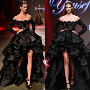 Очаровательные Black High Low Выпускные платья 2020 Sheer шеи длинными рукавами Бусинки Кружево оборками из органзы Формальное партии вечера Wear