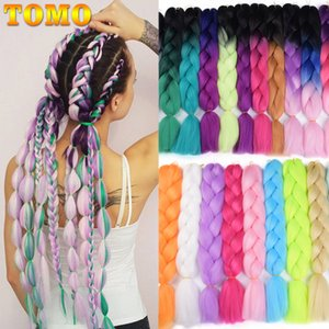 Jumbo Braids TOMO Ombre Jumbo Braids Synthetic 24'' 100g African Xpression Braiding Hair Extensions Rainbow Crochet Hair Extensions