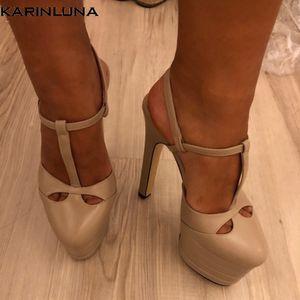 Karinluna 2019 grande tamanho 42 no interior de couro de carneiro sapatos de mulher Salto Alto Plataforma festa de casamento das noivas Sandals Mulheres BOMBAS CY200518