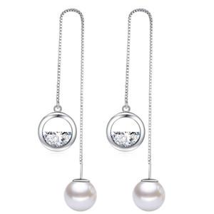 Cristal CZ cuelga los pendientes de Swarovski para la joyería de moda las mujeres brithday del regalo de imitación del partido largo gota de la perla pendiente W11