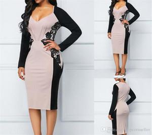 Vestidos Sexy contraste exclusivo V-cuello del color del remiendo de la cintura delgada Ropa para mujer Ropa de la moda de las nuevas mujeres de moda