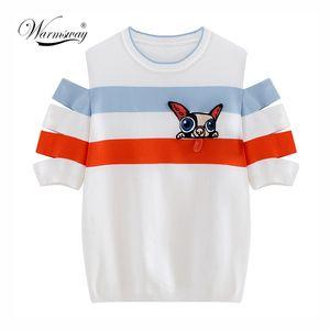 Warmsway Pist Örgü Yaz Üst Tshirt Çizgili Köpek Aplikler Kadınlar Için Tatlı T-Shirt Yenilik Kapalı Omuz Kadın C-143 Y19042501