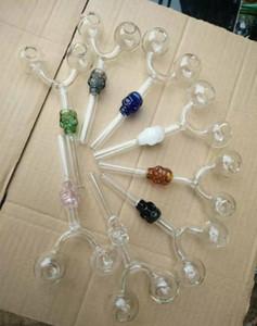 acqua di vetro colorato Bong tubo Skull Oil Burner Maniglia pipe curvo Mini pipe SOFFIATO Recycler 3 stili