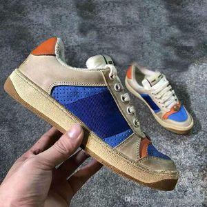 2019 Screener concepteur sale Chaussures de luxe en cuir réel Designer Sneaker homme ACE brodé fraise Souliers simples de femme
