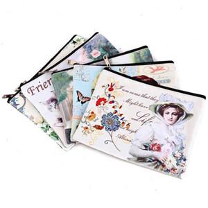 Cambio de billetes bolso cosmético Simple Storage Personalizar PU impresión digital del bolso de embrague de las mujeres Mano que sostiene la bolsa de archivos RJ-64