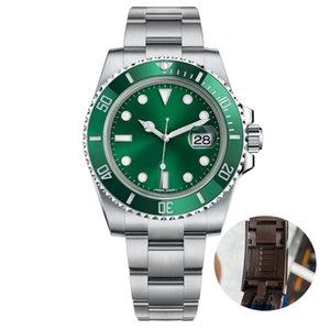 Dropshipping Movimento lunetta in ceramica Mens Orologi meccanico automatico in acciaio inox Green watch Gliding Chiusura 5atm orologi da polso impermeabile