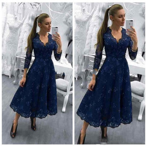 2020 Modest Tea Length Prom Dress 3 4 Long Sleeves V Neck A Line Sequin Lace Evening Party Pageant Gowns Vestidos Cheap Customiz