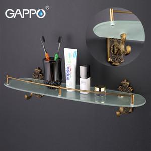 Gappo Montage mural Salle de bain Etagère étagère en acier inoxydable de bain en verre Porte-double couche étagère de rangement Serviette Hanger douche stand
