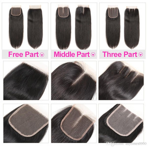 brazilian hair virgin human hair lace closure natural color peruvian remy hair closure straight 8-20inch free shipping