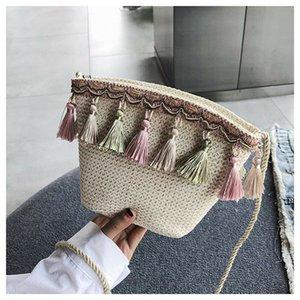 Bolsas nuevas de las mujeres Satchel Hombro Vintage Bolso hecho a mano Crossbody Purple Handbag Tassel Messenger Hobo Mini Bonita Lady Tote Para Occtr