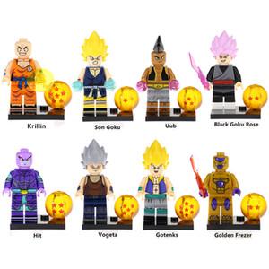 Dragon Ball Z Super Saiyan Krillin Sangoku Uub Noir Goku Rose Hit Vegeta Gotenks d'or Frezer Mini Figurine blocs de construction de jouets
