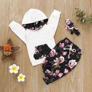 Ins Bahar Güz çocuklar Kız Giyim 2 adet setleri Çiçek Kapüşonlular + Pantolon Bebek Çocuk Giyim İki parçalı setleri çocuklar gündelik kıyafet setleri eskitmek yazdır