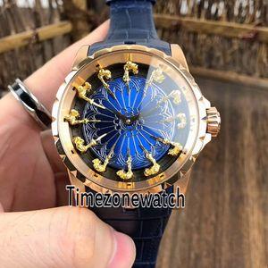 Excalibur 45 RDDBEX0398 Montre Homme Automatique Rose Or Noir Inner Cadran Bleu Bleu Chevaliers De La Table Ronde Montre Timezonewatch E11e5