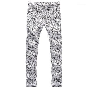 Muster Dollar Mode Male Bleistift-Hosen-Reißverschluss-gerade beiläufige Jungen-Hose Frühling Mens 3D Printed Hosen Hiphop