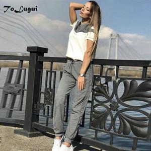 ToLugui Kadın eşofman kısa kollu pamuklu kazak Kazak iki Piece seti moda Dikiş Spor takım elbise kadın bahar