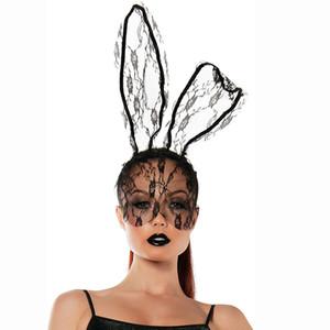 Masque de femmes lapin dentelle Bandeau accessoires voile de masque de mascarade Halloween Party Masque de Noël Uniforme d'appel Accessoires JK1909PH